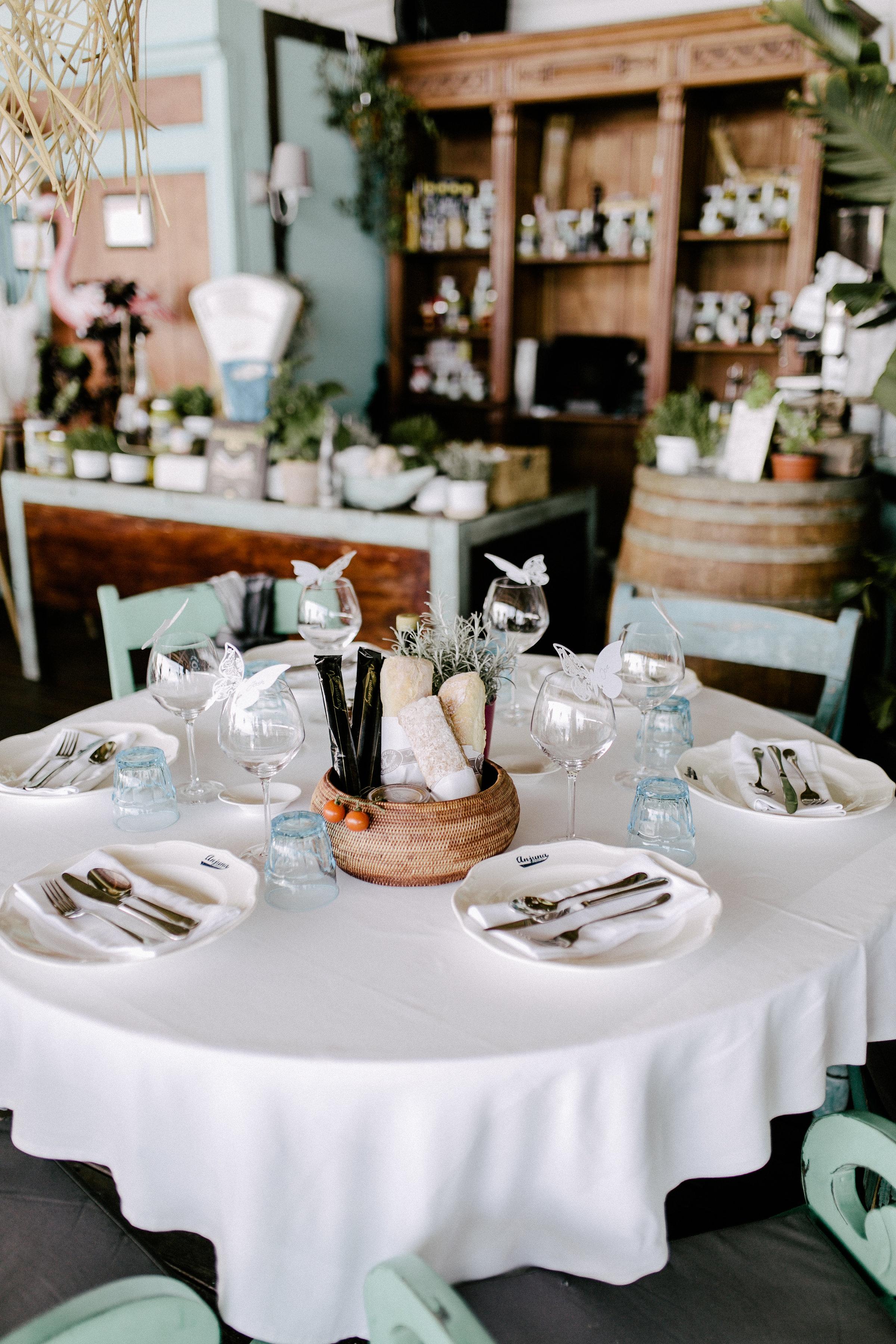Wedding preparations at Anjuna, a beach restaurant by the Mediterranean Sea.