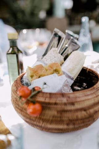Bread basket at Anjuna, a beach restaurant by the Mediterranean Sea.