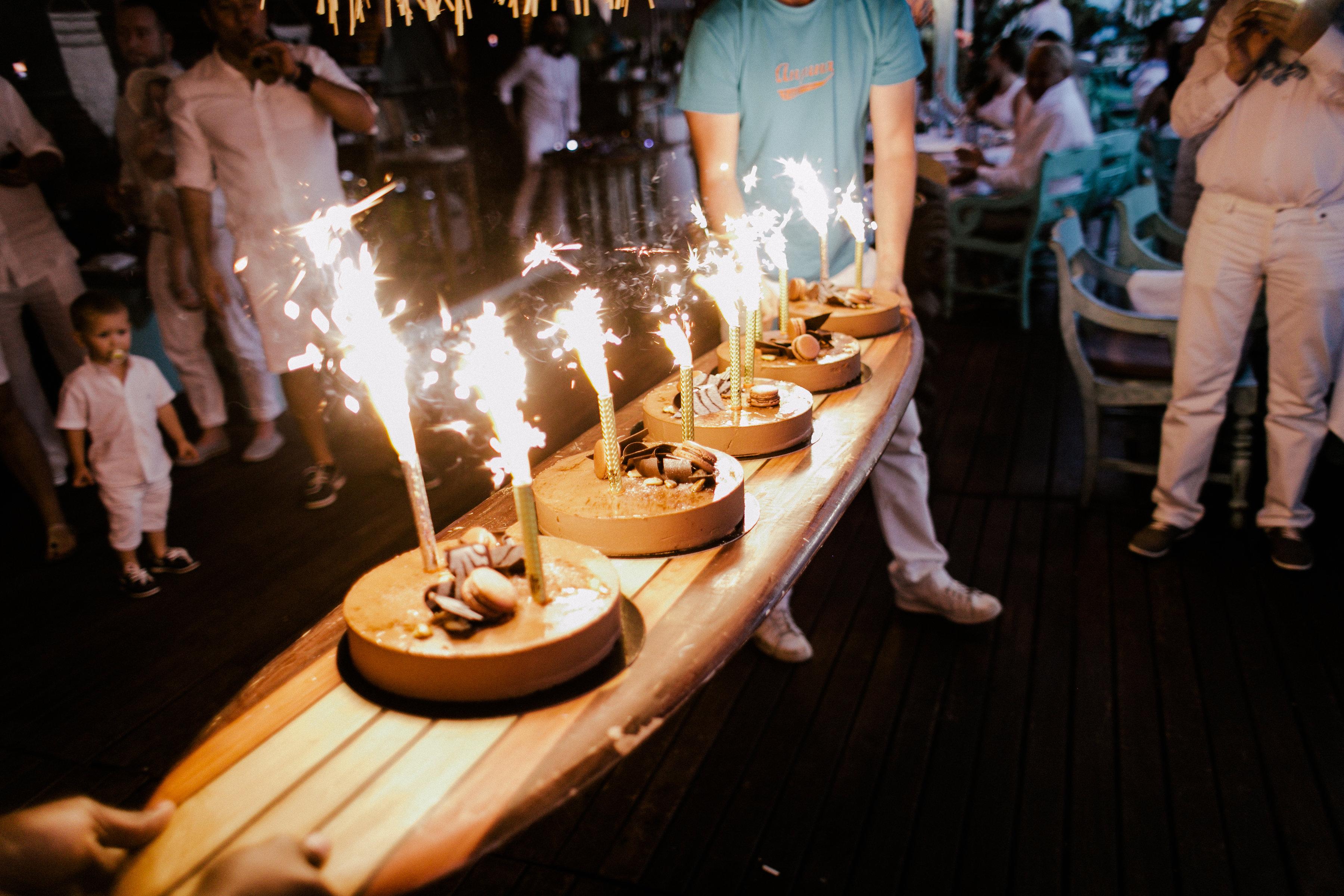 Wedding cake served at Anjuna, a beach restaurant by the Mediterranean Sea.